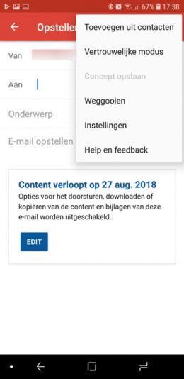 Gmail app vertrouwelijke modus