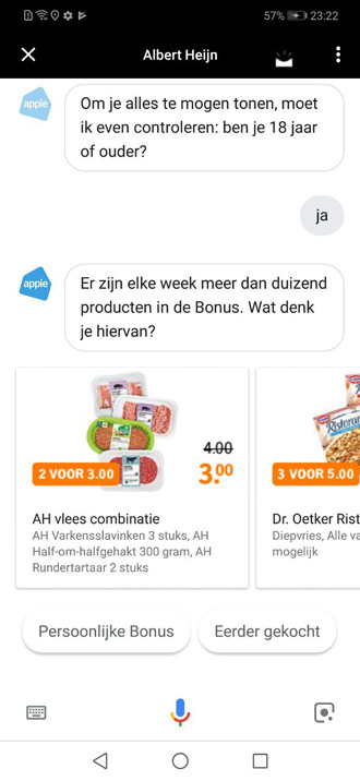 Google Assistent Albert Heijn