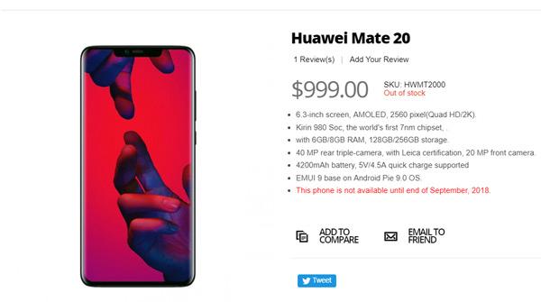 Huawei Mate 20 opgedoken