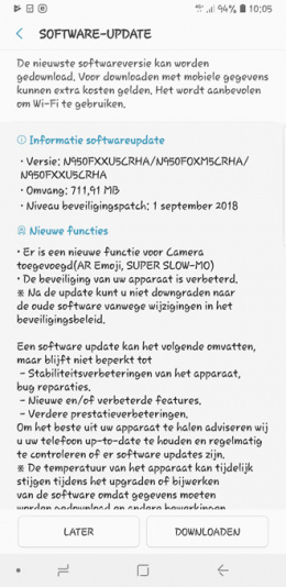 Galaxy Note 8 update september
