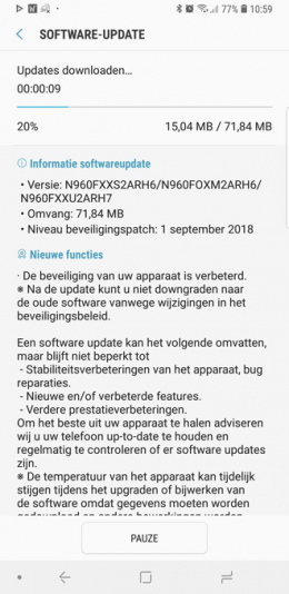 Galaxy Note 9 september update