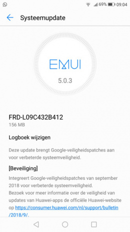 Honor 8 beveiligingsupdate september 2018