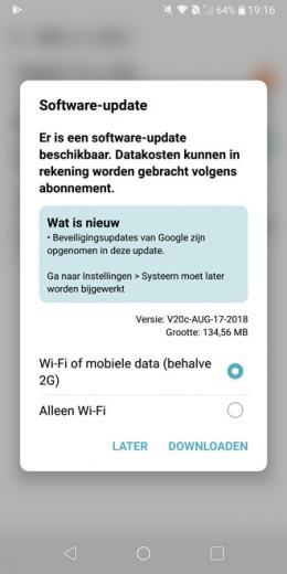 LG G6 beveiligingsupdate augustus 2018
