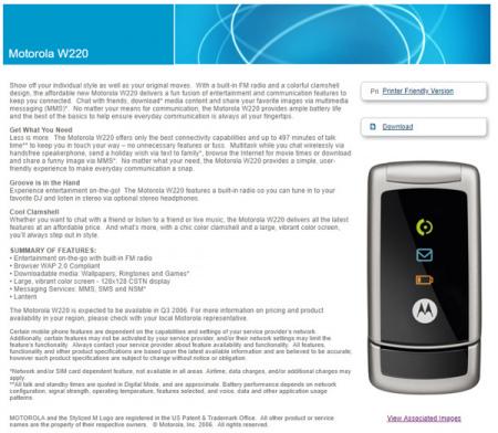 Motorola W220 persbericht