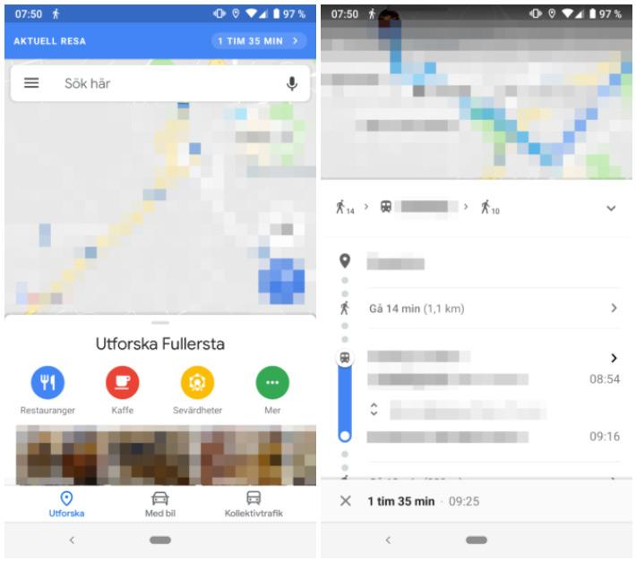 google maps huidige reis