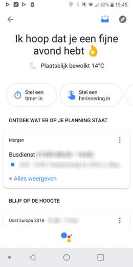 Google Assistent interface