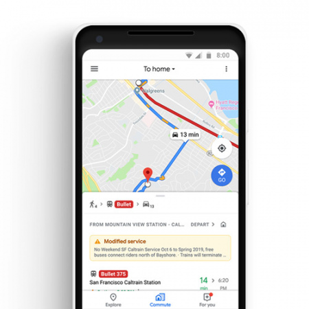 Google Maps route ov auto