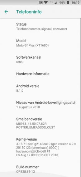 Moto g5 android 8.1 oreo