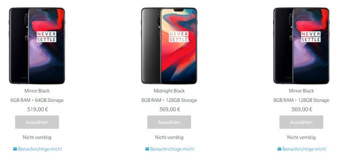 OnePlus 6 voorraad