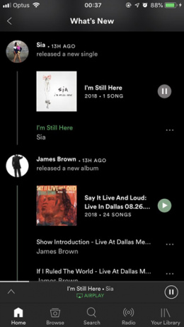 Spotify What's new timeline