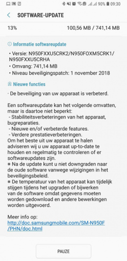 Beveiligingsupdate november Galaxy Note 8