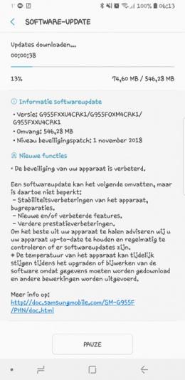 Galaxy S8 beveiligingsupdate november 2018