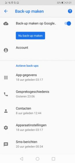 Google Drive back-up maken