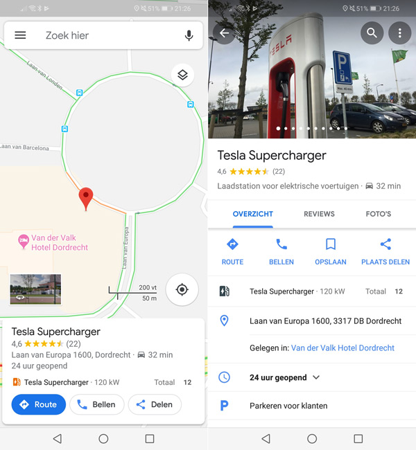 Google Maps oplaadpunten