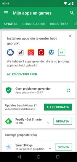 Google Play Store eerder gebruikte apps