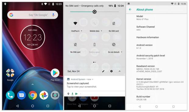 Moto G4 Android 8.1 Oreo test