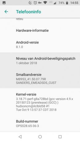 Moto G5S plus beveiligingsupdate oktober 2018