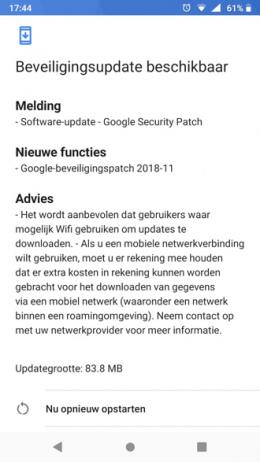 Nokia 6.1 beveiligingsupdate november 2018