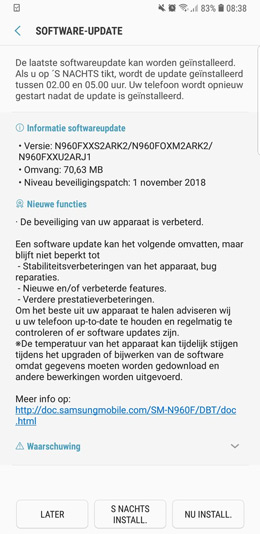 Samsung Galaxy Note 9 beveiligingsupdate november 2018