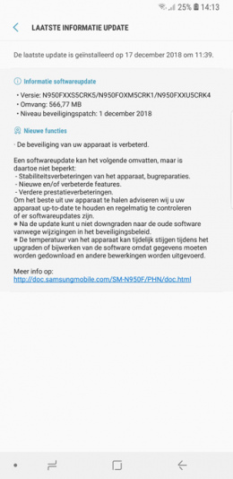Galaxy Note 8 beveiligingsupdate december 2018
