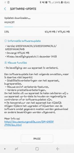 Galaxy S8 beveiligingsupdate december 2018