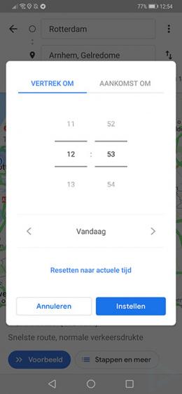 Google Maps aankomsttijd