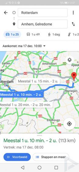 Google Maps tijd instellen