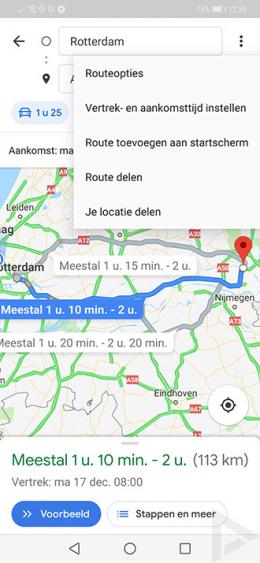 Google Maps vertrektijd