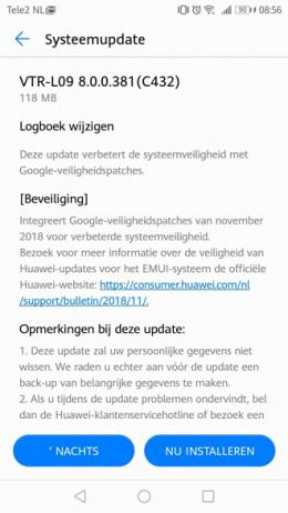 Huawei P10 beveiligingsupdate november 2018