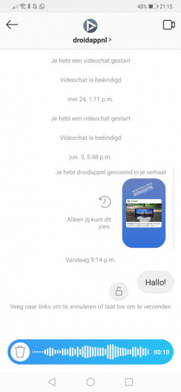 Instagram Direct audiobericht