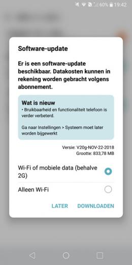 LG G6 beveiligingsupdate november 2018