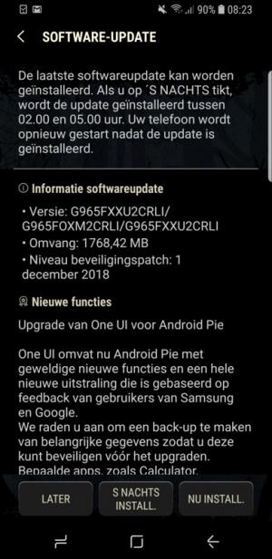 Samsung Galaxy S9 Android 9.0 Pie update