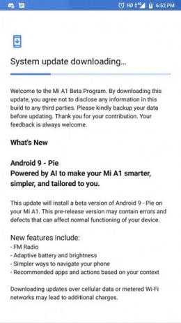 Xiaomi Mi A1 Android 9 Pie beta