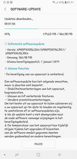 Galaxy Note 8 beveiligingsupdate januari 2019