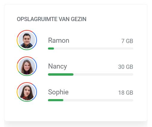 Google One opslagruimte delen