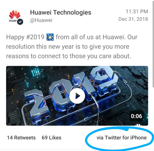 Huawei tweet iphone