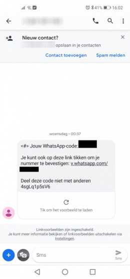 WhatsApp verificatiecode