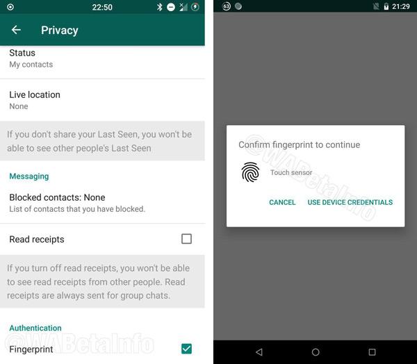WhatsApp vingerafdruk beveiliging