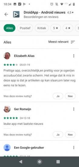 Google Play Store review weergave