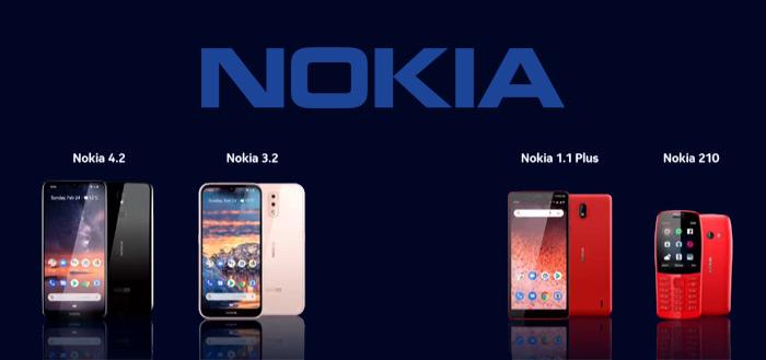 Nokia presenteert Nokia 3.2, 4.2 met nieuwe LED-notificatie, 1 Plus en 210