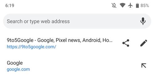 Chrome 73 adresbalk