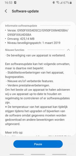 Galaxy S8 beveiligingsupdate maart 2018