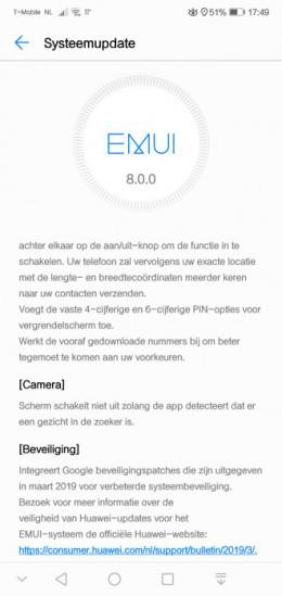 Huawei p20 Lite beveiligingsupdate maart 2019