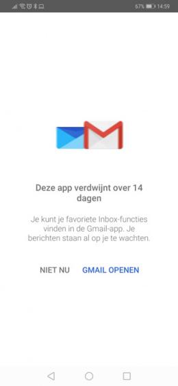 Inbox stopt 14 dagen