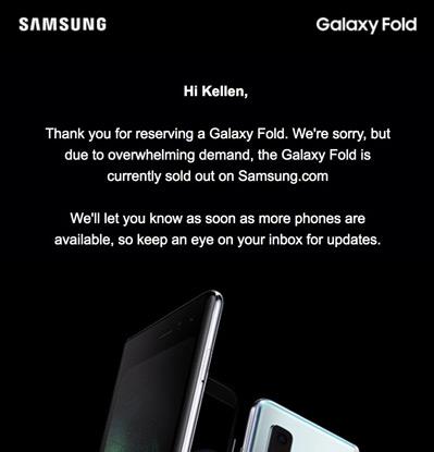 Galaxy Fold uitverkocht