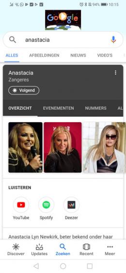 Google Discover muziek