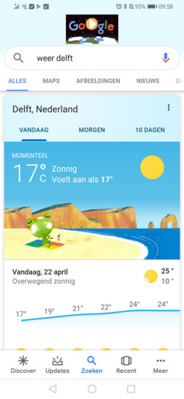 Google Discover weer