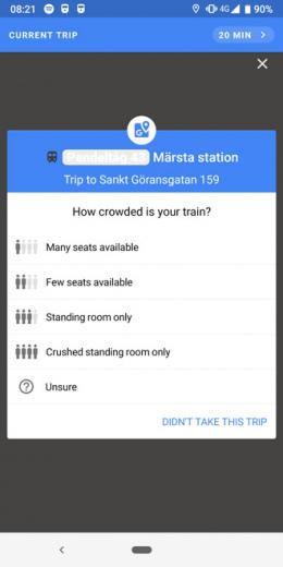 Google Maps drukte trein