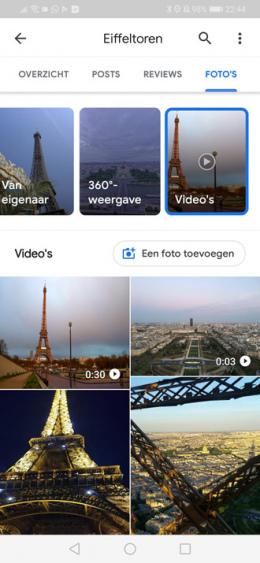 Google Maps foto's filter