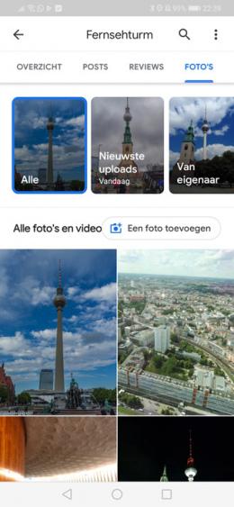 Google Maps foto filter